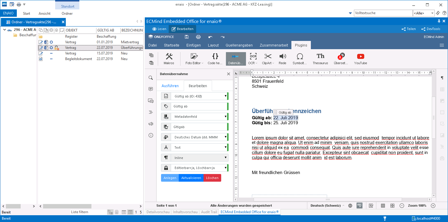 image from Embedded Office for enaio®: Juli-Update